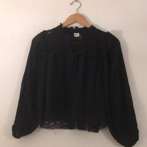 Anthropologie Black Lace Blouse
